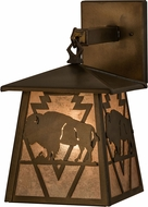 Meyda Tiffany 163245 Lone Buffalo Rustic Antique Copper / Silver Mica Wall Lighting Sconce