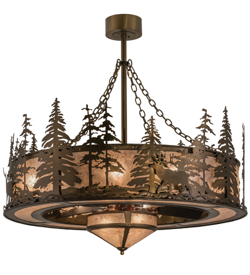 Elk Lighting Fans: Meyda Tiffany 163305 Elk At Dusk Antique Copper/Silver