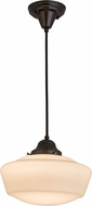 Meyda Tiffany 163499 Revival Schoolhouse Black Cloth Cover Craftsman Brown Hanging Pendant Light