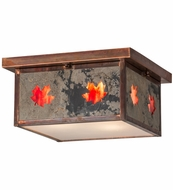 Meyda Tiffany 163513 Hyde Park Maple Leaf Slate Glass Vintage Copper Flush Mount Lighting