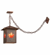 Meyda Tiffany 163517 Seneca Maple Leaf Slate Glass Vintage Copper Pendant Light Fixture