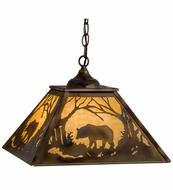 Meyda Tiffany 164001 Bear at Dawn Burnished Brass Tint Beige Glass Hanging Light Fixture