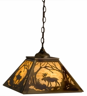 Meyda Tiffany 164023 Moose at Dawn Burnished Brass Tint Beige Glass Drop Ceiling Lighting