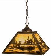 Meyda Tiffany 164026 Canoe At Lake Burnished Brass Tint Beige Glass Ceiling Light Pendant