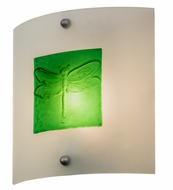 Meyda Tiffany 164161 Metro Fusion Wings Contemporary Clear/Green Bas Dragonfly Relief Lamp Sconce