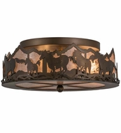 Meyda Tiffany 164280 Wild Horses Antique Copper/Silver Mica Fluorescent Flush Mount Ceiling Light Fixture