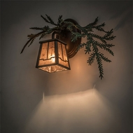 Meyda Tiffany 164591 Pine Branch Valley View Rustic Cafe Noir / Green Needles Halogen Wall Mounted Lamp