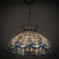 Meyda Tiffany 165806 Roseborder Tiffany Zaz Lt Blue Blue Ceiling Light Pendant