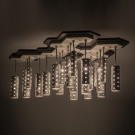 Meyda Tiffany 166089 Emmentaler Modern Silver Anodized Multi Drop Ceiling Light Fixture