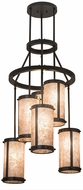 Meyda Tiffany 167555 Cartier Modern Timeless Bronze / Silver Mica Multi Hanging Light