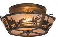 Meyda Tiffany 170968 Fly Fishing Creek Country Silver Flush Ceiling Light Fixture