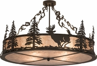 Meyda Tiffany 171359 Wildlife at Dusk Rustic Oil Rubbed Bronze / Silver Mica Overhead Lighting Fixture