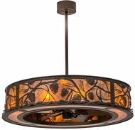 Meyda Tiffany 171629 Whispering Pines Rustic Cafe Noir / Amber Mica Chandel-Air Ceiling Fan