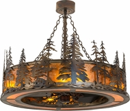 Meyda Tiffany 172092 Tall Pines Country Burnished Antique Copper Amber Mica Chandel-Air Ceiling Fan