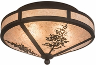 Meyda Tiffany 172117 Tamarack Rustic Oil Rubbed Bronze / Silver Mica Ceiling Light Fixture