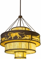 Meyda Tiffany 172150 Jayne Wild Kingdom Rustic Antique Rust Drum Drop Ceiling Light Fixture