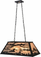Meyda Tiffany 172280 Leaping Trout & Loon Country Black / Silver Mica Kitchen Island Light Fixture