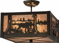 Meyda Tiffany 172976 Moose at Lake Timeless Bronze / Silver Mica Overhead Lighting