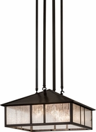 Meyda Tiffany 173208 Double Bar Mission Clear Seedy / Craftsman Brown Ceiling Pendant Light