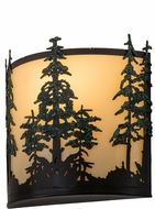 Meyda Tiffany 173383 Tall Pines Country Timeless Bronze / Green Trees Ivory Acrylic Wall Mounted Lamp