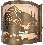 Meyda Tiffany 17464 Bear Creek Country Antique Copper / Silver Mica Lighting Sconce