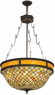 Meyda Tiffany 174933 Tiffany Fishscale Tiffany Oil Rubbed Bronze / Amber Mica Hanging Light Fixture