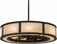 Meyda Tiffany 174959 Smythe Craftsman Oil Rubbed Bronze / Carmel Onyx Carmel Onyx Idalight Chandel-Air Ceiling Fan