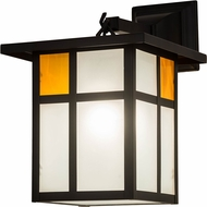 Meyda Tiffany 175280 Hyde Park Craftsman Clear Frosted Inside Solar Black Powdercoated Outdoor Lighting Wall Sconce