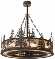 Meyda Tiffany 175914 Tall Pines Rustic Oil Rubbed Bronze / Silver Mica Chandel-Air Ceiling Fan