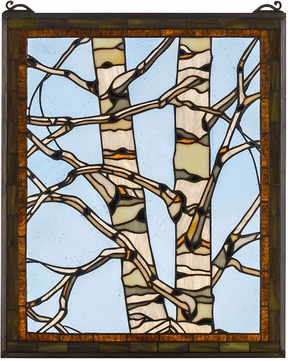 Meyda Tiffany 175993 Birch Tree in Winter Country Beige Amber Kalt Stained Glass Window