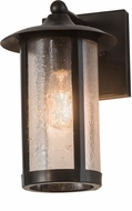 Meyda Tiffany 176727 Fulton Prime Craftsman Brown Clear Seedy Glass Wall Lamp