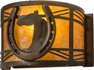 Meyda Tiffany 176944 Horseshoe Country Antique Copper / Amber Mica Light Sconce