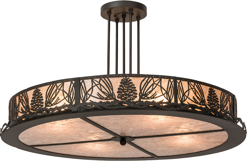 Meyda Tiffany 177220 Mountain Pine Rustic Silver Mica Flush Ceiling Light  Fixture. Loading Zoom