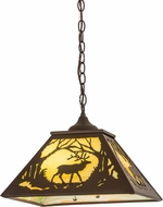 Meyda Tiffany 177226 Elk at Dawn Country Cafe Noir Pendant Lamp