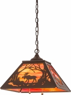 Meyda Tiffany 177229 Moose at Dawn Rustic Cafe Noir Pendant Light Fixture