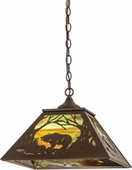 Meyda Tiffany 177231 Bear at Dawn Rustic Cafe Noir Hanging Pendant Lighting