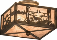 Meyda Tiffany 177245 Deer at Lake Country Dark Burnished Antique Copper Silver Mica Flush Mount Ceiling Light Fixture