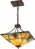 Meyda Tiffany 177465 Pinecone Ridge Tiffany Mahogany Bronze Pendant Hanging Light