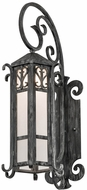 Meyda Tiffany 178197 Caprice Traditional Antique Iron Gate Frosted Seedy Glass Outdoor Wall Sconce Lighting