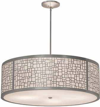 Meyda Tiffany 178212 Cilindro Deco Contemporary Off White Textrene / Statuario Idalight Nickel Drum Hanging Light