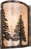 Meyda Tiffany 178370 Tall Pines Rustic Dark Burnished Antique Copper Silver Mica Wall Light Sconce
