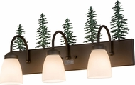 Meyda Tiffany 178428 Tall Pines Rustic Oil Rubbed Bronze Green Trees 3-Light Bath Wall Sconce