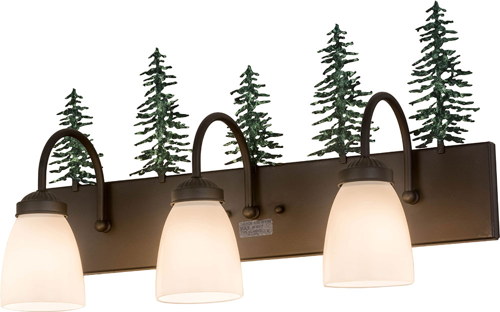Meyda Tiffany 178428 Tall Pines Rustic Oil Rubbed Bronze Green Trees 3-Light Bath Wall Sconce ...