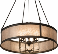 Meyda Tiffany 178551 Craftsman Jaula Timeless Bronze / Silver Mica Drum Hanging Light
