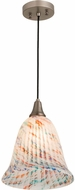 Meyda Tiffany 178633 Peacock Pate-De-Verre Modern Brushed Nickel Mini Pendant Light Fixture