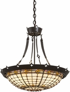Meyda Tiffany 179883 Fleur-de-Lite Tiffany Timeless Bronze Ceiling Pendant Light