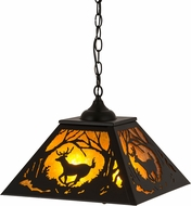Meyda Tiffany 180042 Deer at Dawn Rustic Textured Black / Amber Mica Ceiling Pendant Light