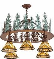 Meyda Tiffany 180201 Nuevo Mission Tall Pines Country Rust / Green Chandelier Light
