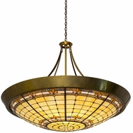 Meyda Tiffany 180289 Fleur-de-Lite Tiffany Brass Drop Lighting Fixture
