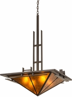 Meyda Tiffany 180347 Lineage Timeless Bronze / Amber Mica Hanging Light